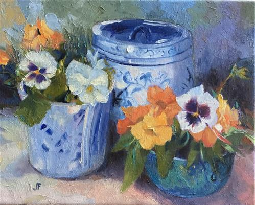 """Jar and Vase of Pansies"" original fine art by Charlotte Fitzgerald"