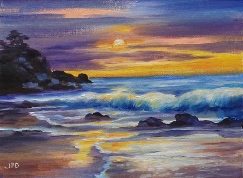"""""""Sunset, Oregon"""" original fine art by Jean Pierre DeBernay"""