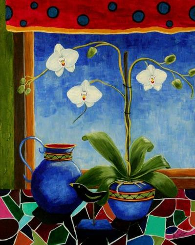 """""""Orchids an original painting by contemporary artist Sunny Williams"""" original fine art by Sunny Williams"""