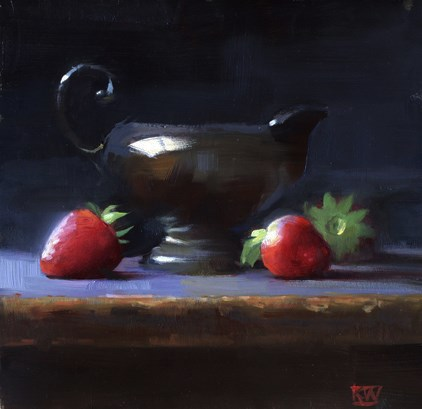 """""""Silver and strawberries"""" original fine art by Kathy Weber"""