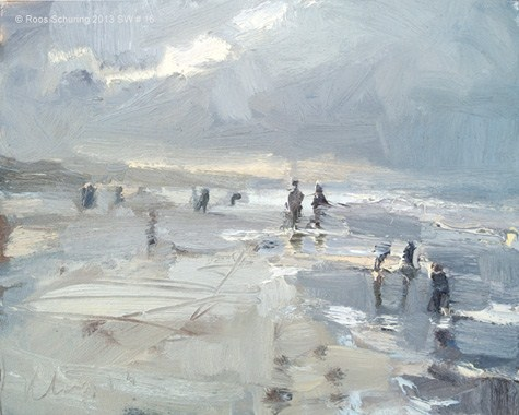 """""""Seascape winter 16 Just before the blizzard (available)"""" original fine art by Roos Schuring"""