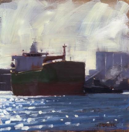 """Tanker and tug"" original fine art by Kathy Weber"
