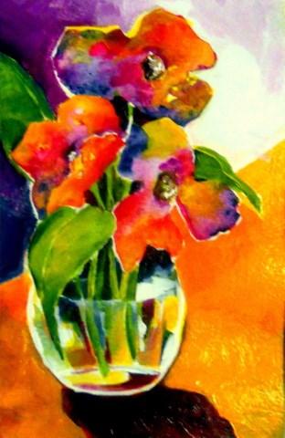 """""""Flowers in Jewels"""" original fine art by Laurie Mueller"""