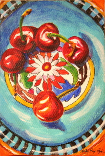 """My Mexican bowl, with cherries"" original fine art by JoAnne Perez Robinson"