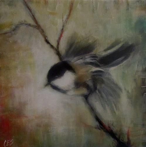 """""""Chickadee Lift Off"""" original fine art by ~ces~ Christine E. S. Code"""