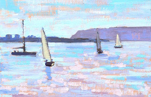 """Sailboats on San Diego Bay"" original fine art by Kevin Inman"