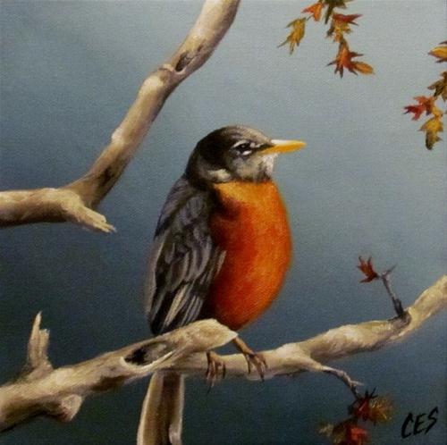 """""""Little Robin Redbreast"""" original fine art by ~ces~ Christine E. S. Code"""