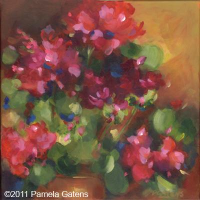 """""""Geranium Reds"""" original fine art by Pamela Gatens"""