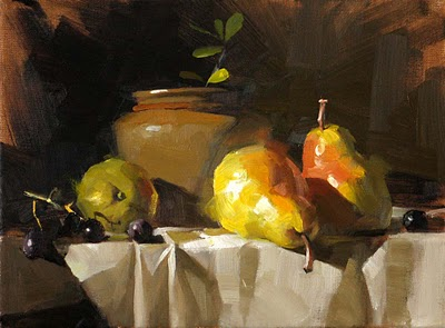 """""""Pears in Light 2 --- Sold"""" original fine art by Qiang Huang"""