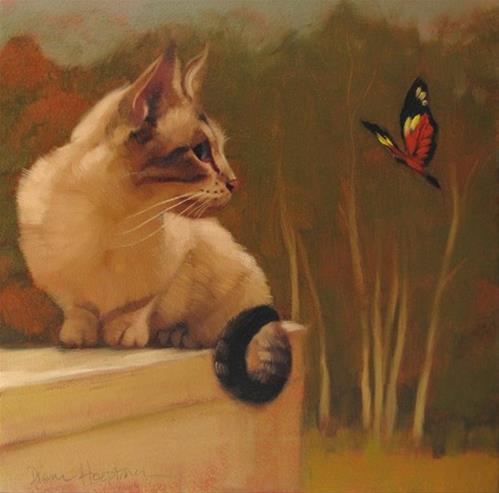 """Cat & Butterfly IV"" original fine art by Diane Hoeptner"