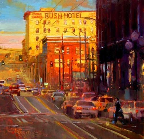 """The Bush Hotel Seattle cityscape, oil painting by Robin Weiss"" original fine art by Robin Weiss"