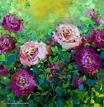 """Pink Rose Rhapsody - Flower Painting Classes and Workshops by Nancy Medina Art"" original fine art by Nancy Medina"