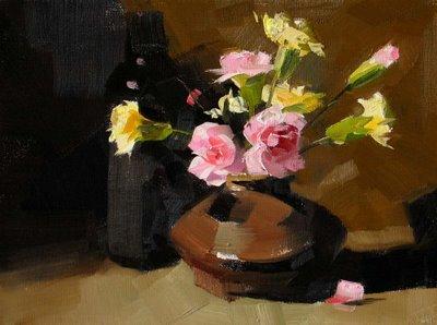 """Carnations"" original fine art by Qiang Huang"