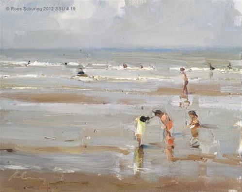 """""""Seascape summer # 19 Summer playground - Kinderen der Zee"""" original fine art by Roos Schuring"""