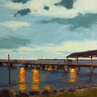 """Night Sky over the Pier"" original fine art by Laurel Daniel"
