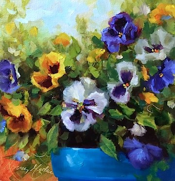 """Winter Stowaway Pansies - Flower Paintings by Nancy Medina"" original fine art by Nancy Medina"