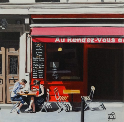"""""""Cafe au Rendez-Vous II"""" original fine art by Andre Beaulieu"""