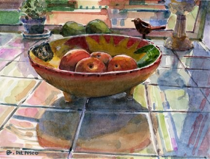 """""""Watercolor: Peaches in a Mexican Bowl (& video demos from great artists)"""" original fine art by Belinda Del Pesco"""