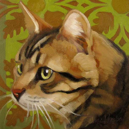 """""""Fall Cat autumn colors leaves green"""" original fine art by Diane Hoeptner"""