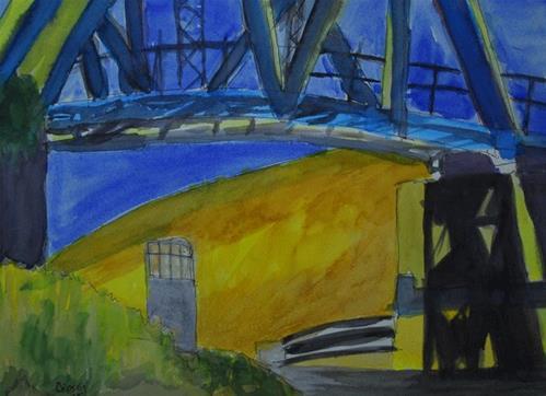 """Old Highway Bridge"" original fine art by Donna Crosby"