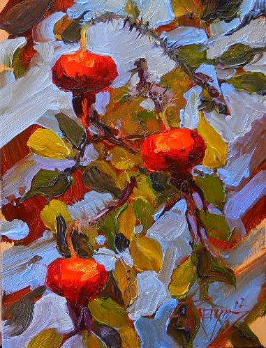 """""""Three Rose Hips oil painting by Robin Weiss"""" original fine art by Robin Weiss"""