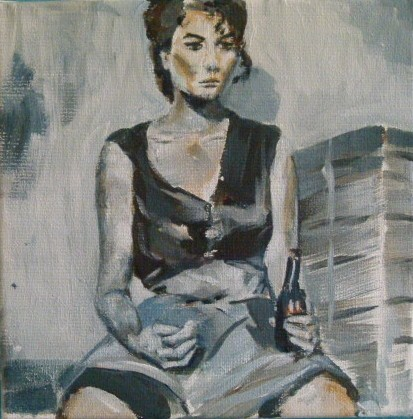 """Sophia takes a break/Sophia macht Pause"" original fine art by Sabine Hüning"