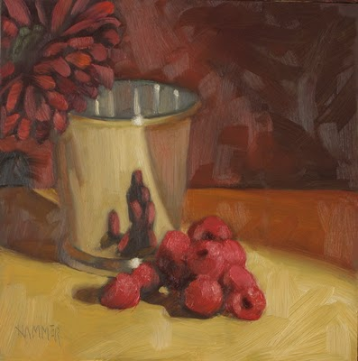 """""""Giving you the raspberries 6x6  oil"""" original fine art by Claudia Hammer"""