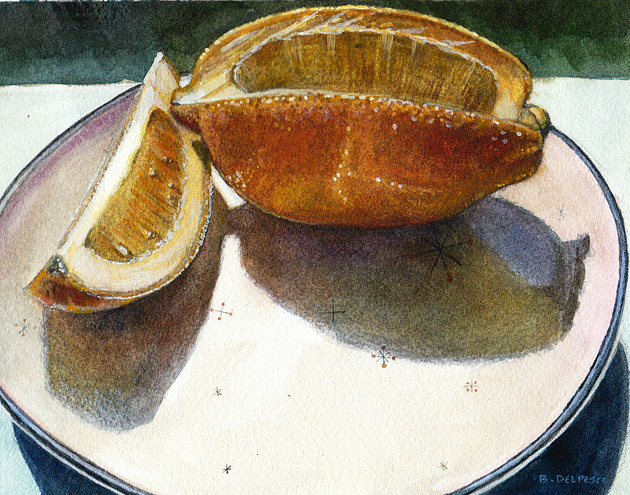 """Meyer Lemon on Evening Star China"" original fine art by Belinda Del Pesco"