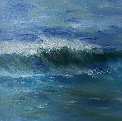 """Wave Study One, 6x6 Oil, Seascape"" original fine art by Donna Pierce-Clark"