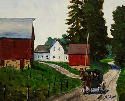 """""""Passing The Garber Farm"""" original fine art by Steve Gibson"""