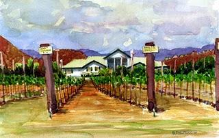 """""""Watercolor: Agua Dulce Vineyards"""" original fine art by Belinda Del Pesco"""