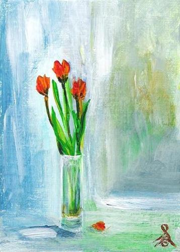 """""""3070 - Framed - 3 SPRING TULIPS - ACEO Series"""" original fine art by Sea Dean"""