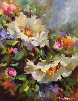 """Day 16 ~ Coronado Island Color - White Roses by Floral Artist Nancy Medina"" original fine art by Nancy Medina"