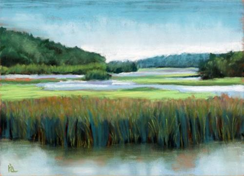 """Rice City Pond"" original fine art by Ria Hills"