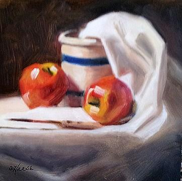 """Apples and Crock"" original fine art by Cindy Haase"