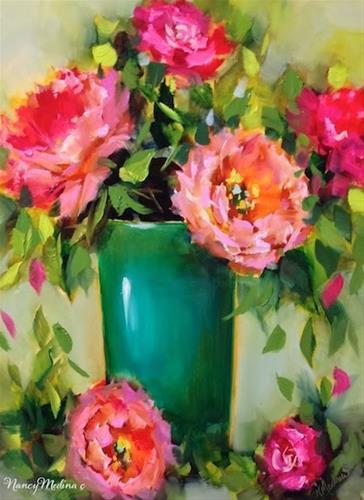 """Pinkalicious Peonies and a December Flower Painting Workshop by Floral Artist Nancy Medina"" original fine art by Nancy Medina"