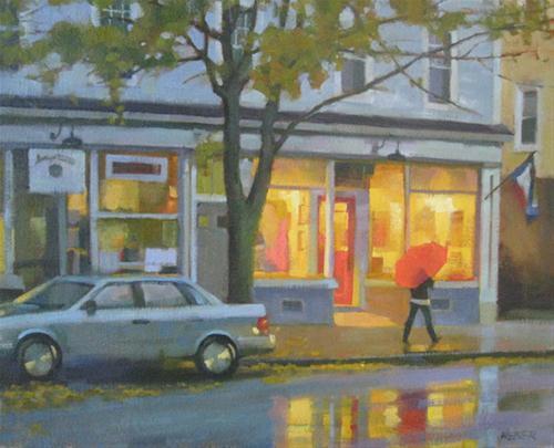 """The Orange Umbrella"" original fine art by Kathy Weber"