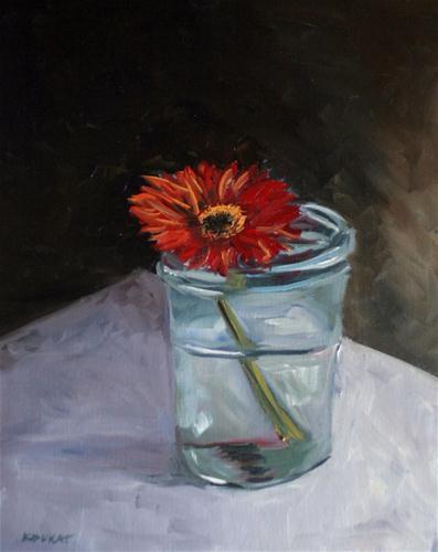 """Zinnia in a Jar"" original fine art by Kristen Dukat"