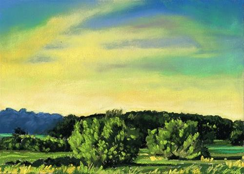 """Early Dusk landscape pastel painting"" original fine art by Ria Hills"