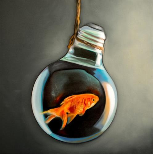 """Goldfish Light Bulb"" original fine art by Lauren Pretorius"