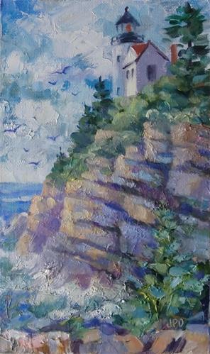 """Northen Maine Lighthouse"" original fine art by Jean Pierre DeBernay"