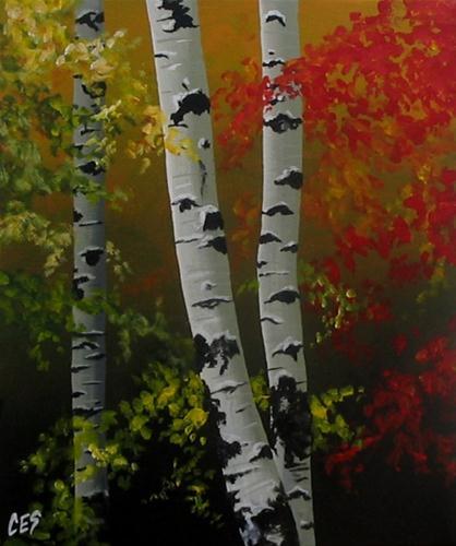 """Birch in the Morning Light"" original fine art by ~ces~ Christine E. S. Code"