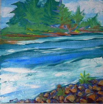 """Willamette River 30, from Clackamette Park"" original fine art by Pam Van Londen"