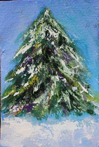 """Rochester Tree, Acrylic Portrait of Evergreen Tree"" original fine art by Amy Whitehouse"