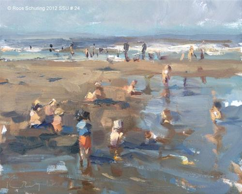 """Seascape summer # 23 Seaside crowded with children"" original fine art by Roos Schuring"
