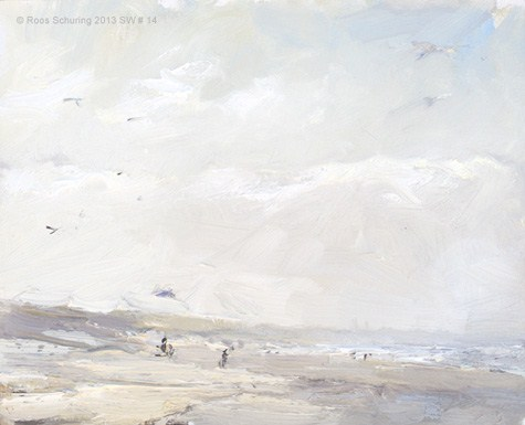 """""""Seascape winter 14 Wind, light and birds (available)"""" original fine art by Roos Schuring"""