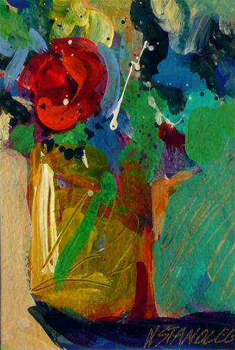 """""""One Red Rose SOLD"""" original fine art by Nancy Standlee"""