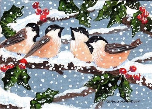 """Chickadees in the Snow"" original fine art by Patricia Ann Rizzo"