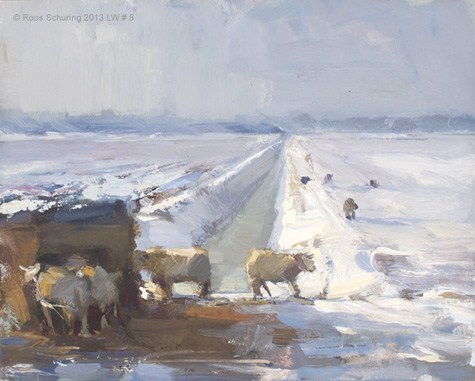 """""""Landscape winter 8 Sheep and light (available)"""" original fine art by Roos Schuring"""