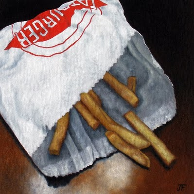 """""""French Fry Study - Remnants"""" original fine art by Jelaine Faunce"""
